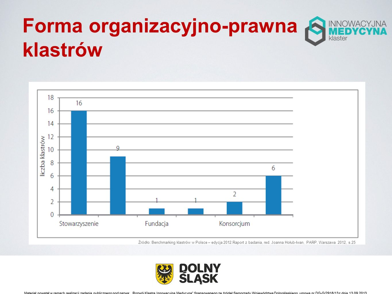 Forma organizacyjno-prawna klastrów Źródło: Benchmarking klastrów w Polsce – edycja 2012.Raport z badania, red. Joanna Hołub-Iwan, PARP, Warszawa 2012