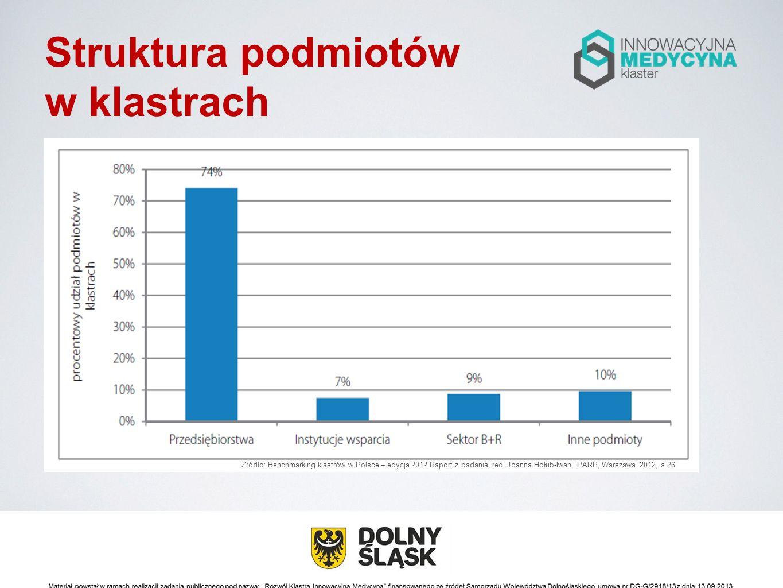 Struktura podmiotów w klastrach Źródło: Benchmarking klastrów w Polsce – edycja 2012.Raport z badania, red. Joanna Hołub-Iwan, PARP, Warszawa 2012, s.