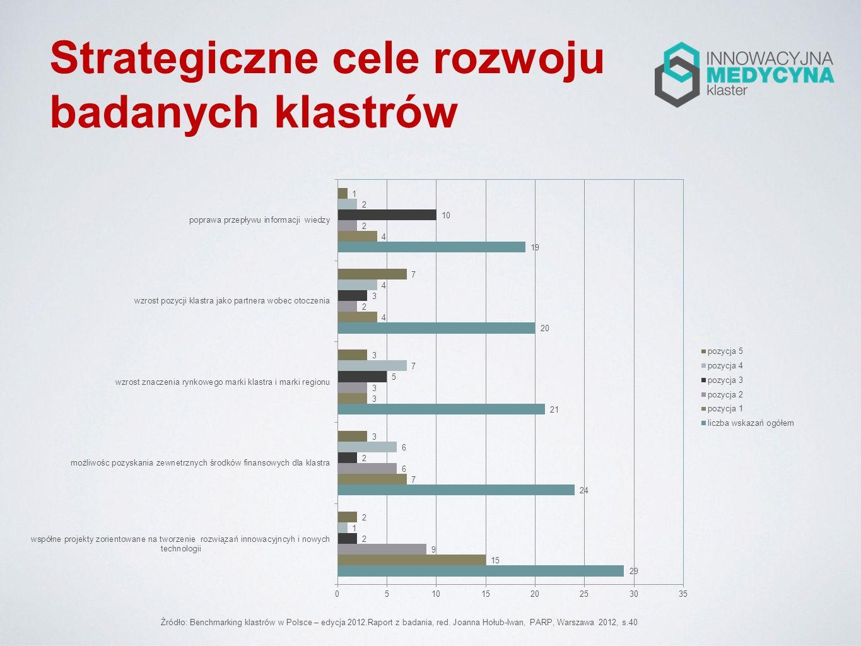 Strategiczne cele rozwoju badanych klastrów Źródło: Benchmarking klastrów w Polsce – edycja 2012.Raport z badania, red. Joanna Hołub-Iwan, PARP, Warsz