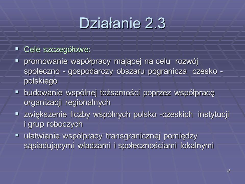 12 Działanie 2.3 Cele szczegółowe: Cele szczegółowe: promowanie współpracy mającej na celu rozwój społeczno - gospodarczy obszaru pogranicza czesko - polskiego promowanie współpracy mającej na celu rozwój społeczno - gospodarczy obszaru pogranicza czesko - polskiego budowanie wspólnej tożsamości poprzez współpracę organizacji regionalnych budowanie wspólnej tożsamości poprzez współpracę organizacji regionalnych zwiększenie liczby wspólnych polsko -czeskich instytucji i grup roboczych zwiększenie liczby wspólnych polsko -czeskich instytucji i grup roboczych ułatwianie współpracy transgranicznej pomiędzy sąsiadującymi władzami i społecznościami lokalnymi ułatwianie współpracy transgranicznej pomiędzy sąsiadującymi władzami i społecznościami lokalnymi