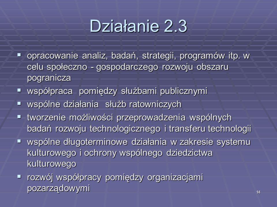 14 Działanie 2.3 opracowanie analiz, badań, strategii, programów itp.