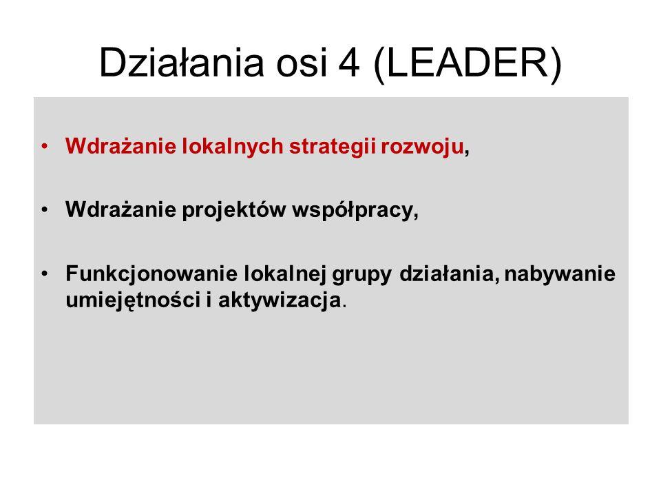 Działania osi 4 (LEADER) Wdrażanie lokalnych strategii rozwoju, Wdrażanie projektów współpracy, Funkcjonowanie lokalnej grupy działania, nabywanie umiejętności i aktywizacja.