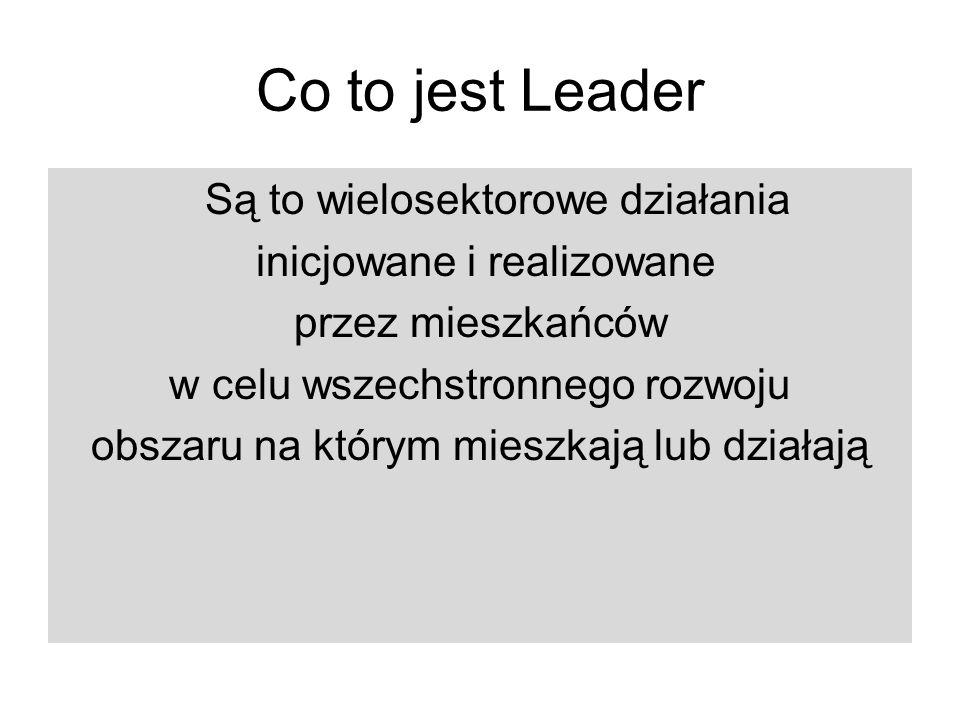 Co to jest Leader Są to wielosektorowe działania inicjowane i realizowane przez mieszkańców w celu wszechstronnego rozwoju obszaru na którym mieszkają lub działają