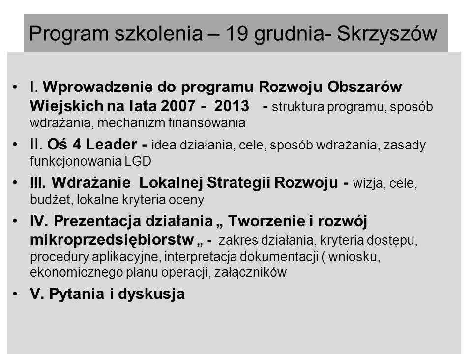 Program szkolenia – 19 grudnia- Skrzyszów I.