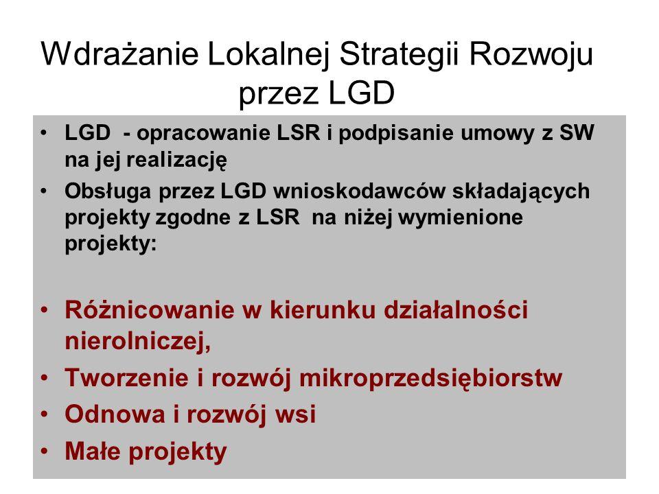 Wdrażanie Lokalnej Strategii Rozwoju przez LGD LGD - opracowanie LSR i podpisanie umowy z SW na jej realizację Obsługa przez LGD wnioskodawców składających projekty zgodne z LSR na niżej wymienione projekty: Różnicowanie w kierunku działalności nierolniczej, Tworzenie i rozwój mikroprzedsiębiorstw Odnowa i rozwój wsi Małe projekty