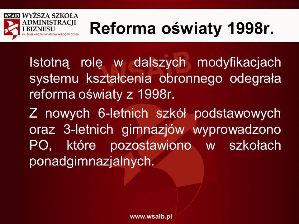 Reforma oświaty 1998r. Istotną rolę w dalszych modyfikacjach systemu kształcenia obronnego odegrała reforma oświaty z 1998r. Z nowych 6-letnich szkół
