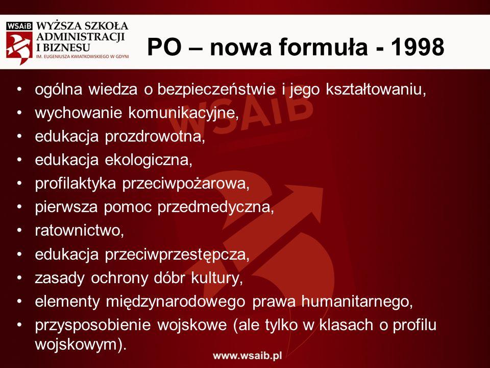 PO – nowa formuła - 1998 ogólna wiedza o bezpieczeństwie i jego kształtowaniu, wychowanie komunikacyjne, edukacja prozdrowotna, edukacja ekologiczna,