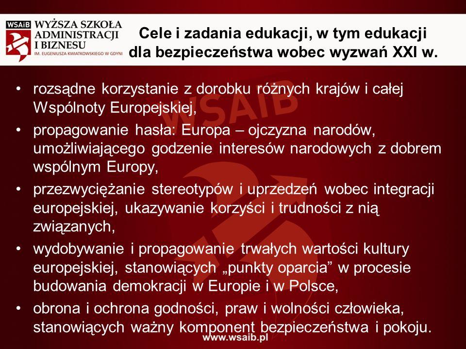 Cele i zadania edukacji, w tym edukacji dla bezpieczeństwa wobec wyzwań XXI w. rozsądne korzystanie z dorobku różnych krajów i całej Wspólnoty Europej