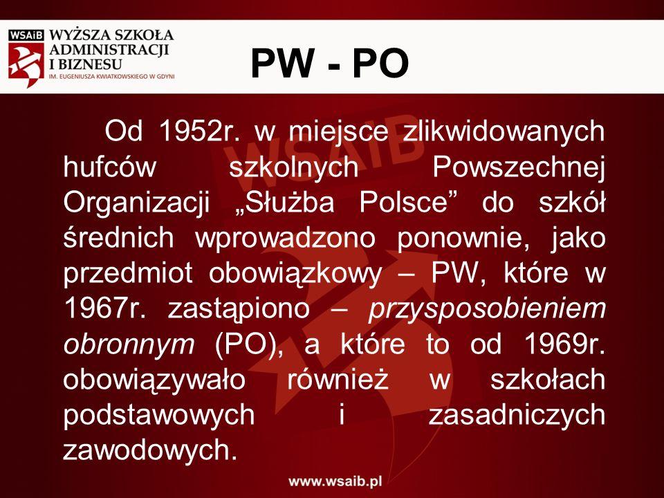 PW - PO Od 1952r. w miejsce zlikwidowanych hufców szkolnych Powszechnej Organizacji Służba Polsce do szkół średnich wprowadzono ponownie, jako przedmi