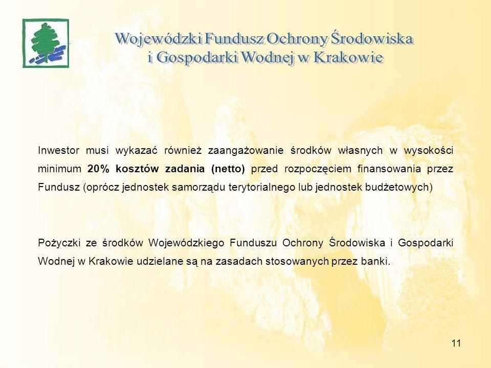 11 Inwestor musi wykazać również zaangażowanie środków własnych w wysokości minimum 20% kosztów zadania (netto) przed rozpoczęciem finansowania przez Fundusz (oprócz jednostek samorządu terytorialnego lub jednostek budżetowych) Pożyczki ze środków Wojewódzkiego Funduszu Ochrony Środowiska i Gospodarki Wodnej w Krakowie udzielane są na zasadach stosowanych przez banki.