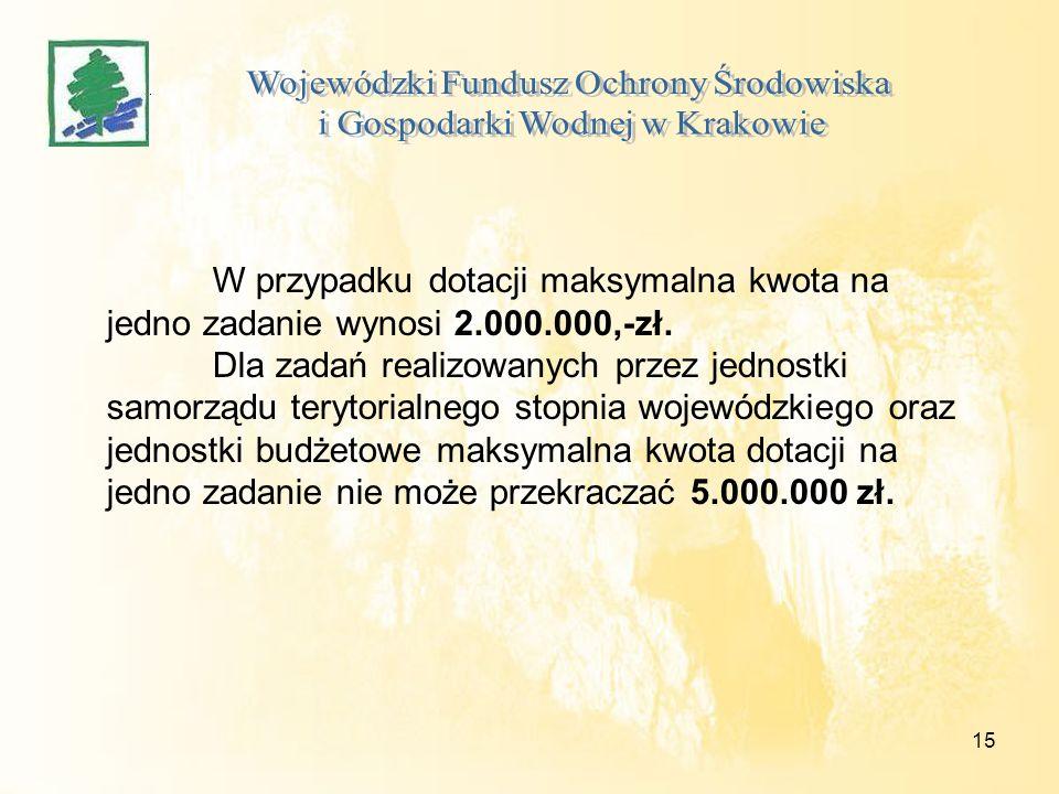 15 W przypadku dotacji maksymalna kwota na jedno zadanie wynosi 2.000.000,-zł. Dla zadań realizowanych przez jednostki samorządu terytorialnego stopni