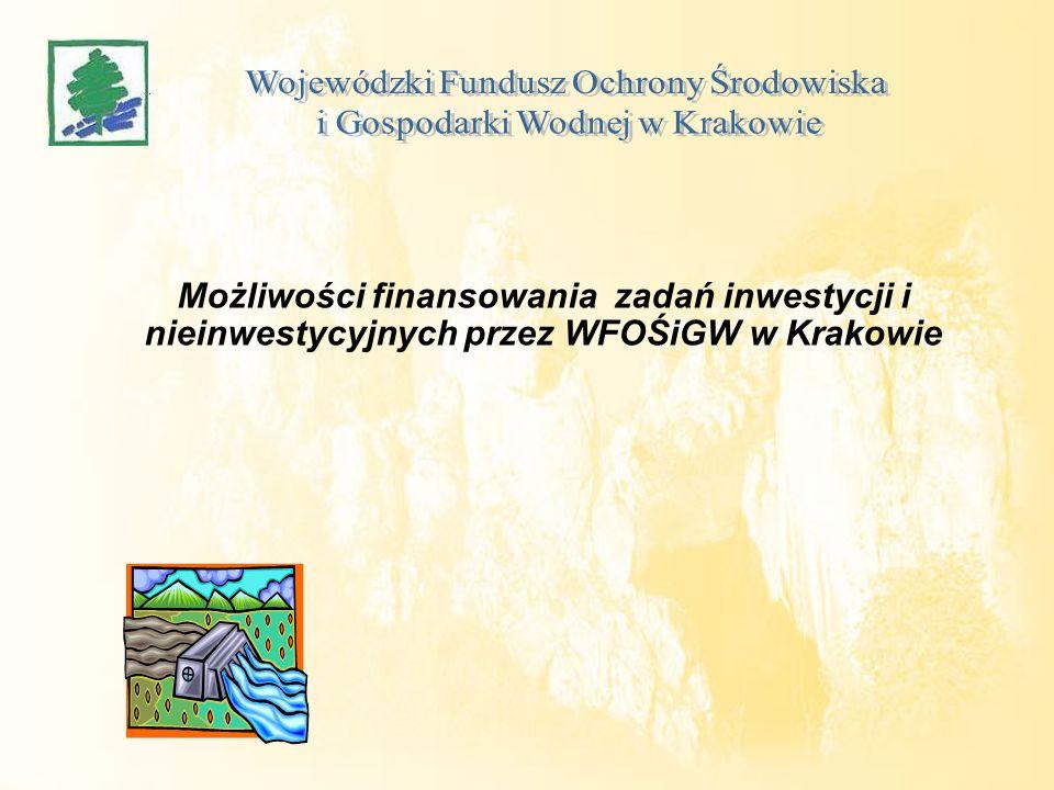Możliwości finansowania zadań inwestycji i nieinwestycyjnych przez WFOŚiGW w Krakowie