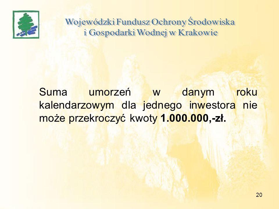 20 Suma umorzeń w danym roku kalendarzowym dla jednego inwestora nie może przekroczyć kwoty 1.000.000,-zł.