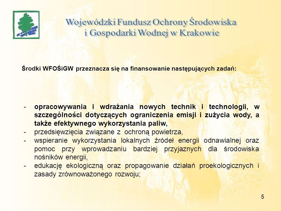 5 Środki WFOŚiGW przeznacza się na finansowanie następujących zadań: -opracowywania i wdrażania nowych technik i technologii, w szczególności dotycząc