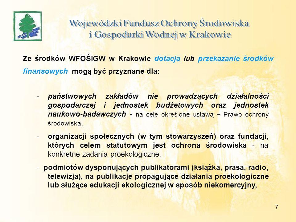 7 Ze środków WFOŚiGW w Krakowie dotacja lub przekazanie środków finansowych mogą być przyznane dla: -państwowych zakładów nie prowadzących działalności gospodarczej i jednostek budżetowych oraz jednostek naukowo-badawczych - na cele określone ustawą – Prawo ochrony środowiska, -organizacji społecznych (w tym stowarzyszeń) oraz fundacji, których celem statutowym jest ochrona środowiska - na konkretne zadania proekologiczne, - podmiotów dysponujących publikatorami (książka, prasa, radio, telewizja), na publikacje propagujące działania proekologiczne lub służące edukacji ekologicznej w sposób niekomercyjny,