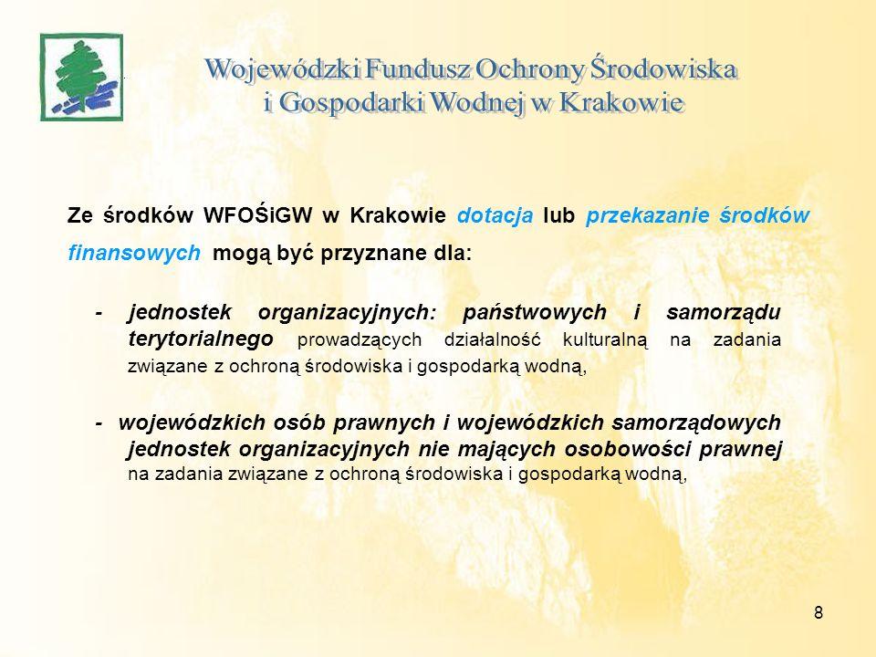 8 Ze środków WFOŚiGW w Krakowie dotacja lub przekazanie środków finansowych mogą być przyznane dla: - jednostek organizacyjnych: państwowych i samorzą