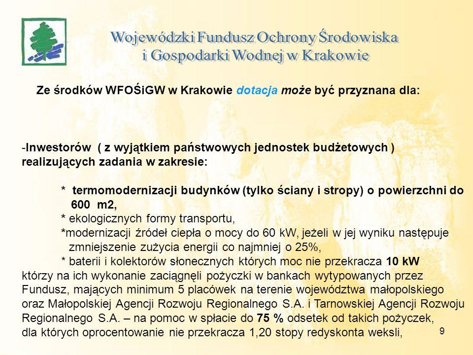 9 Ze środków WFOŚiGW w Krakowie dotacja może być przyznana dla: -Inwestorów ( z wyjątkiem państwowych jednostek budżetowych ) realizujących zadania w zakresie: * termomodernizacji budynków (tylko ściany i stropy) o powierzchni do 600 m2, * ekologicznych formy transportu, *modernizacji źródeł ciepła o mocy do 60 kW, jeżeli w jej wyniku następuje zmniejszenie zużycia energii co najmniej o 25%, * baterii i kolektorów słonecznych których moc nie przekracza 10 kW którzy na ich wykonanie zaciągnęli pożyczki w bankach wytypowanych przez Fundusz, mających minimum 5 placówek na terenie województwa małopolskiego oraz Małopolskiej Agencji Rozwoju Regionalnego S.A.
