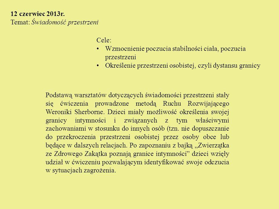 Cele: Wzmocnienie poczucia stabilności ciała, poczucia przestrzeni Określenie przestrzeni osobistej, czyli dystansu granicy 12 czerwiec 2013r. Temat: