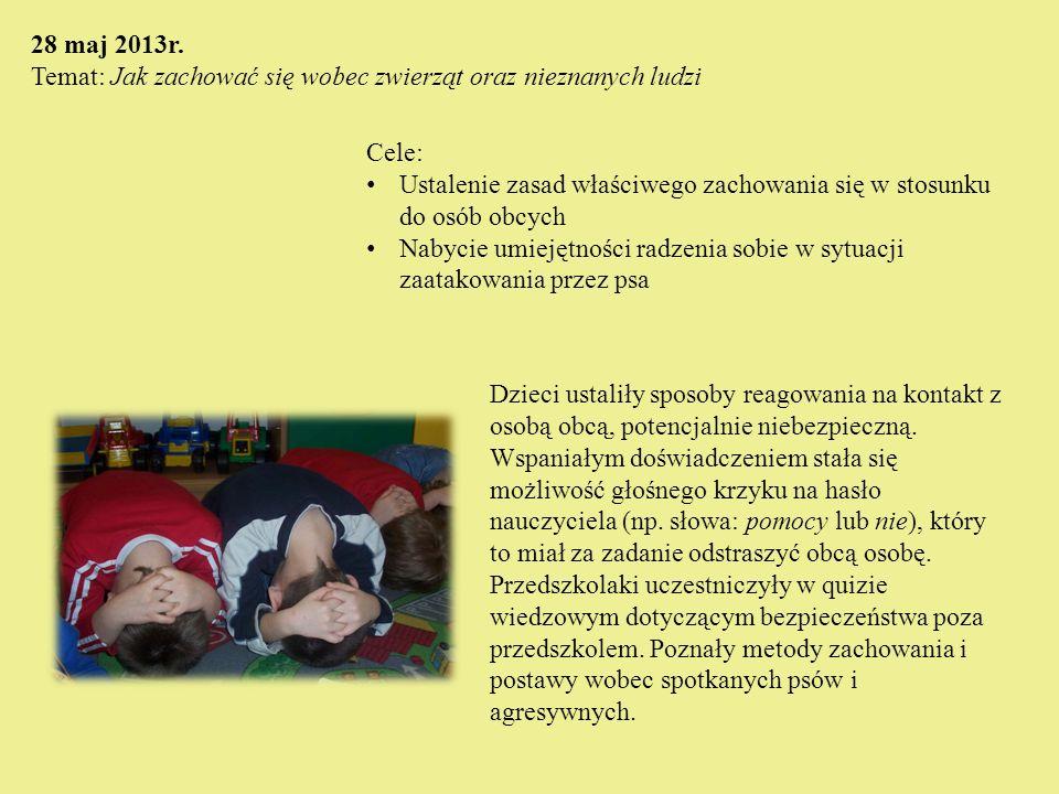28 maj 2013r. Temat: Jak zachować się wobec zwierząt oraz nieznanych ludzi Cele: Ustalenie zasad właściwego zachowania się w stosunku do osób obcych N