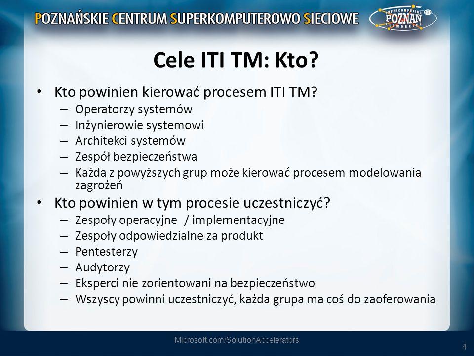 4 Cele ITI TM: Kto? Kto powinien kierować procesem ITI TM? – Operatorzy systemów – Inżynierowie systemowi – Architekci systemów – Zespół bezpieczeństw