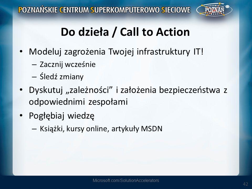 42 Do dzieła / Call to Action Modeluj zagrożenia Twojej infrastruktury IT! – Zacznij wcześnie – Śledź zmiany Dyskutuj zależności i założenia bezpiecze