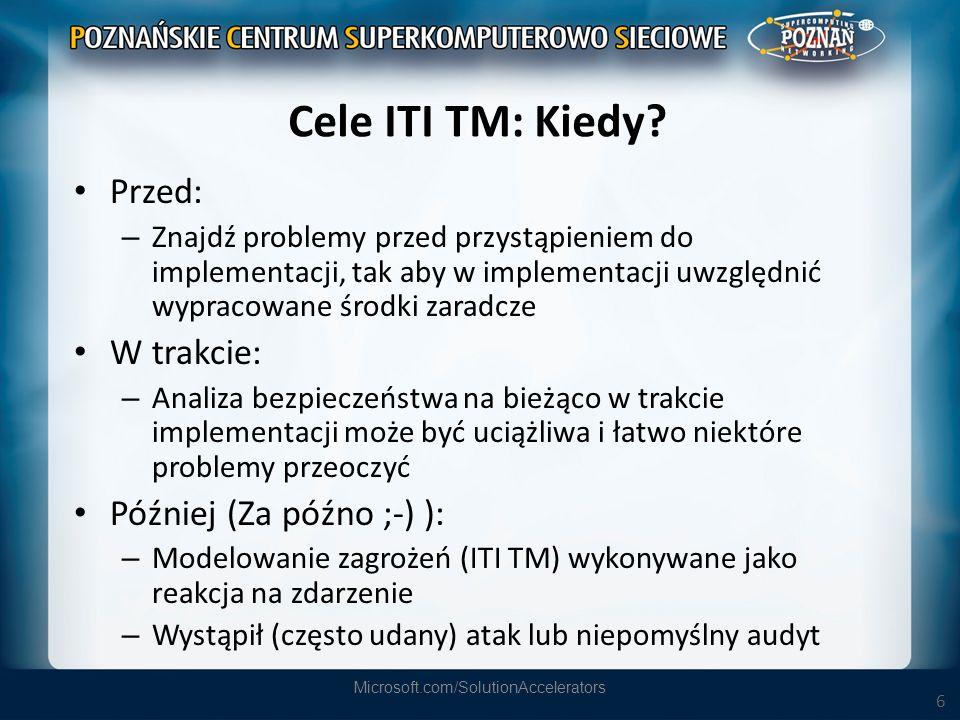 6 Cele ITI TM: Kiedy? Przed: – Znajdź problemy przed przystąpieniem do implementacji, tak aby w implementacji uwzględnić wypracowane środki zaradcze W