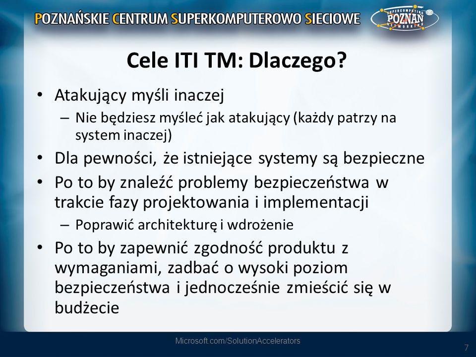 7 Cele ITI TM: Dlaczego? Atakujący myśli inaczej – Nie będziesz myśleć jak atakujący (każdy patrzy na system inaczej) Dla pewności, że istniejące syst