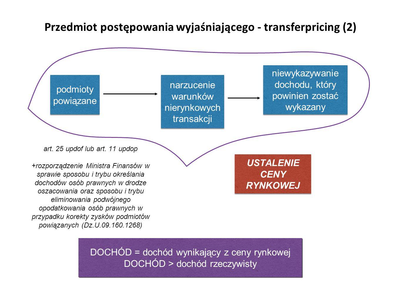 Przedmiot postępowania wyjaśniającego - transferpricing (2) podmioty powiązane narzucenie warunków nierynkowych transakcji niewykazywanie dochodu, który powinien zostać wykazany art.
