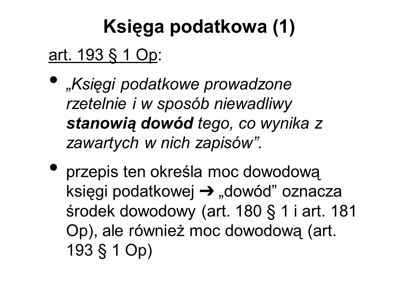 Księga podatkowa (1) art.