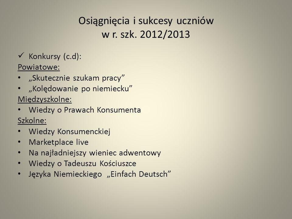Osiągnięcia i sukcesy uczniów w r. szk. 2012/2013 Konkursy (c.d): Powiatowe: Skutecznie szukam pracy Kolędowanie po niemiecku Międzyszkolne: Wiedzy o