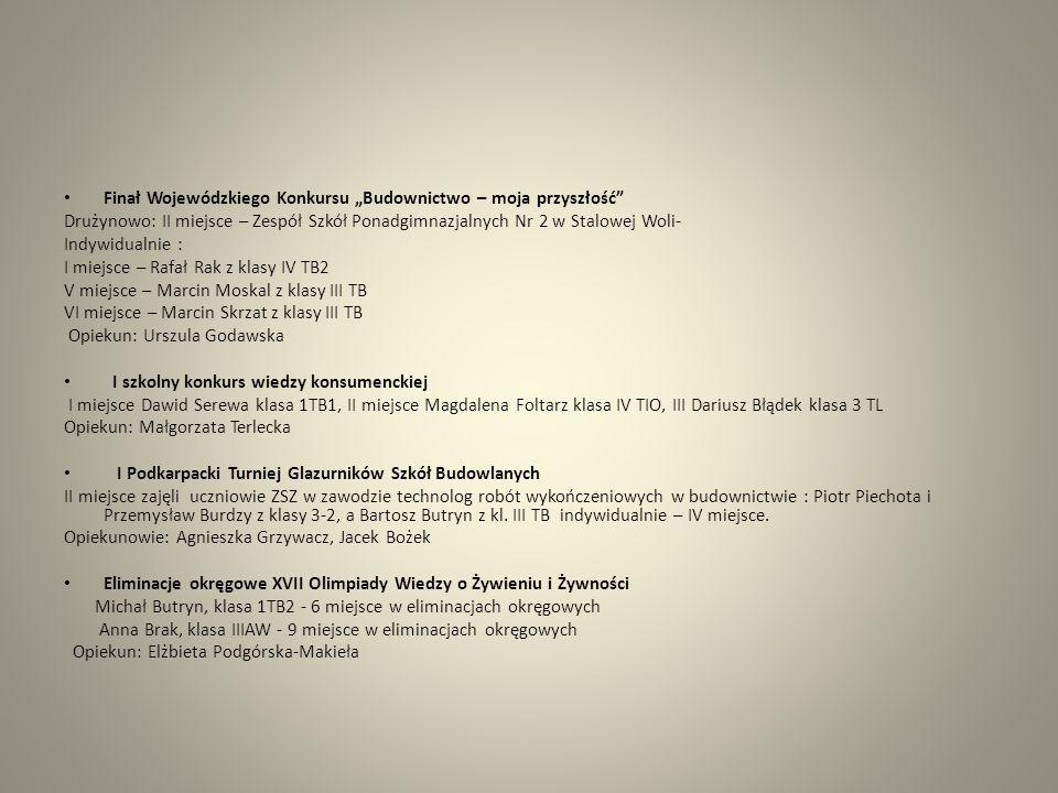 Finał Wojewódzkiego Konkursu Budownictwo – moja przyszłość Drużynowo: II miejsce – Zespół Szkół Ponadgimnazjalnych Nr 2 w Stalowej Woli- Indywidualnie