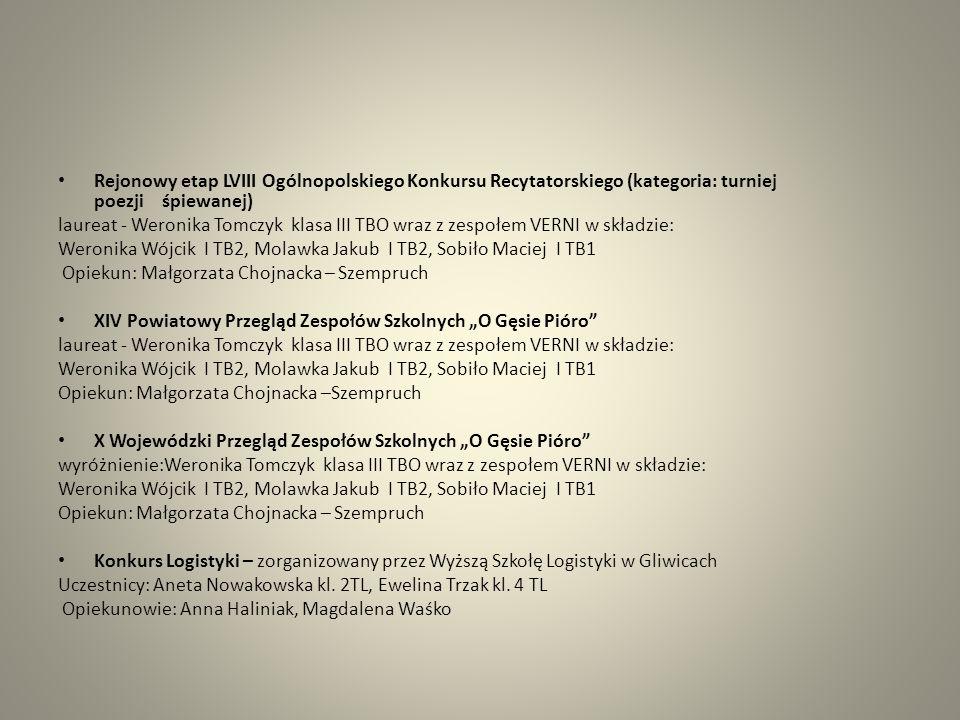 Rejonowy etap LVIII Ogólnopolskiego Konkursu Recytatorskiego (kategoria: turniej poezji śpiewanej) laureat - Weronika Tomczyk klasa III TBO wraz z zes