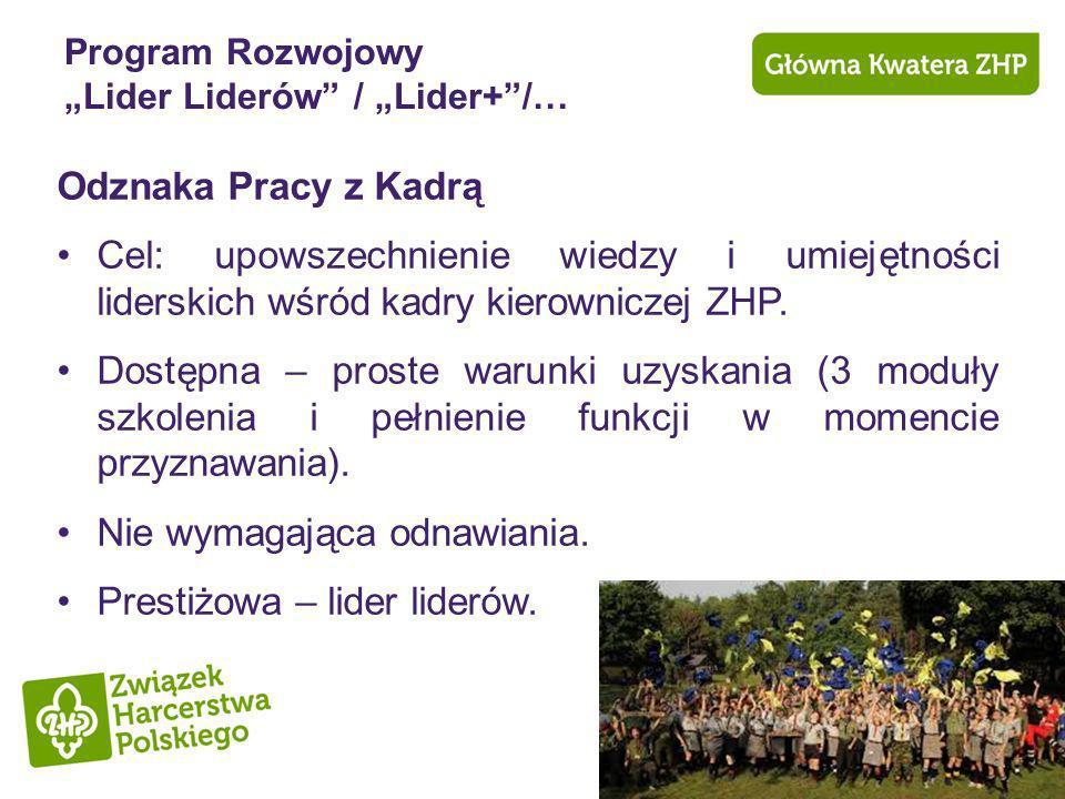Program Rozwojowy Lider Liderów / Lider+/… Odznaka Pracy z Kadrą Cel: upowszechnienie wiedzy i umiejętności liderskich wśród kadry kierowniczej ZHP. D