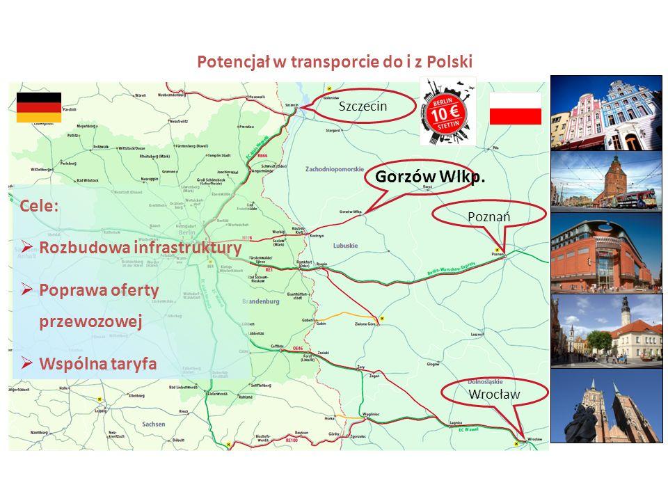 2 2 Wrocław Poznań Szczecin Gorzów Wlkp. Potencjał w transporcie do i z Polski Cele: Rozbudowa infrastruktury Poprawa oferty przewozowej Wspólna taryf