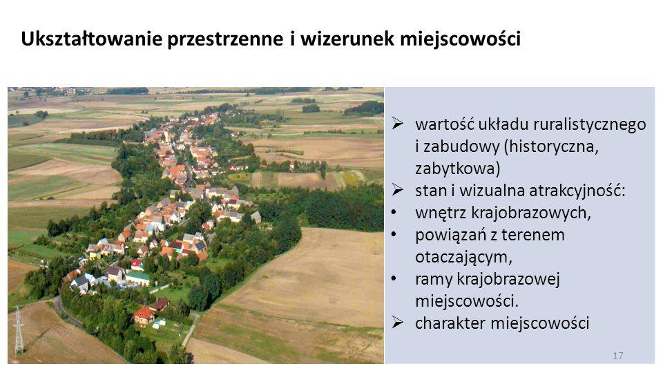 wartość układu ruralistycznego i zabudowy (historyczna, zabytkowa) stan i wizualna atrakcyjność: wnętrz krajobrazowych, powiązań z terenem otaczającym