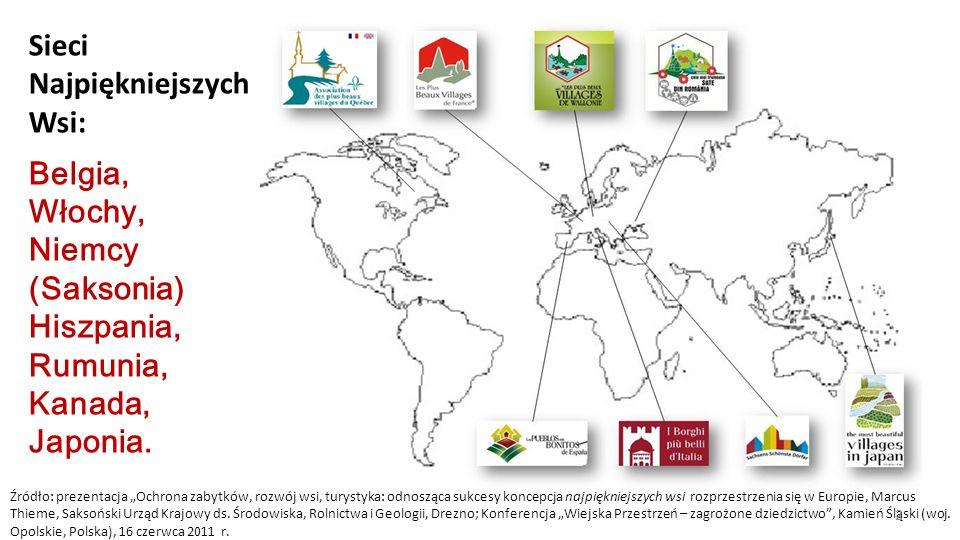 Sieci Najpiękniejszych Wsi: Belgia, Włochy, Niemcy (Saksonia) Hiszpania, Rumunia, Kanada, Japonia. Źródło: prezentacja Ochrona zabytków, rozwój wsi, t