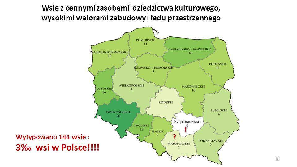 Wsie z cennymi zasobami dziedzictwa kulturowego, wysokimi walorami zabudowy i ładu przestrzennego Wytypowano 144 wsie : 3 wsi w Polsce!!!! ! ? 36