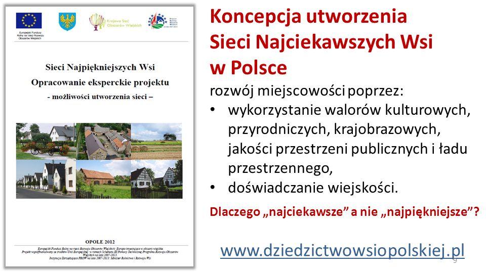 Koncepcja utworzenia Sieci Najciekawszych Wsi w Polsce rozwój miejscowości poprzez: wykorzystanie walorów kulturowych, przyrodniczych, krajobrazowych,