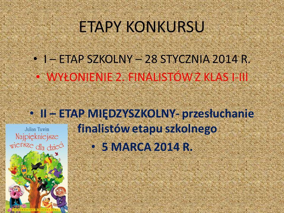 ETAPY KONKURSU I – ETAP SZKOLNY – 28 STYCZNIA 2014 R.