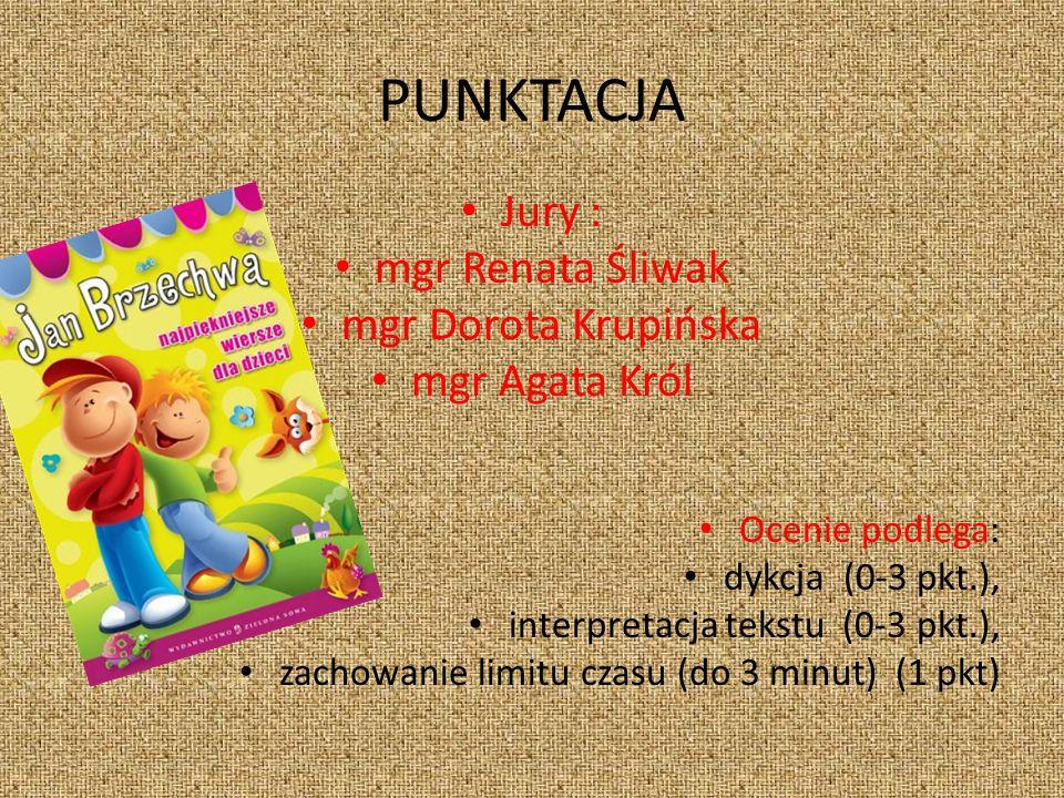 PUNKTACJA Jury : mgr Renata Śliwak mgr Dorota Krupińska mgr Agata Król Ocenie podlega: dykcja (0-3 pkt.), interpretacja tekstu (0-3 pkt.), zachowanie limitu czasu (do 3 minut) (1 pkt)