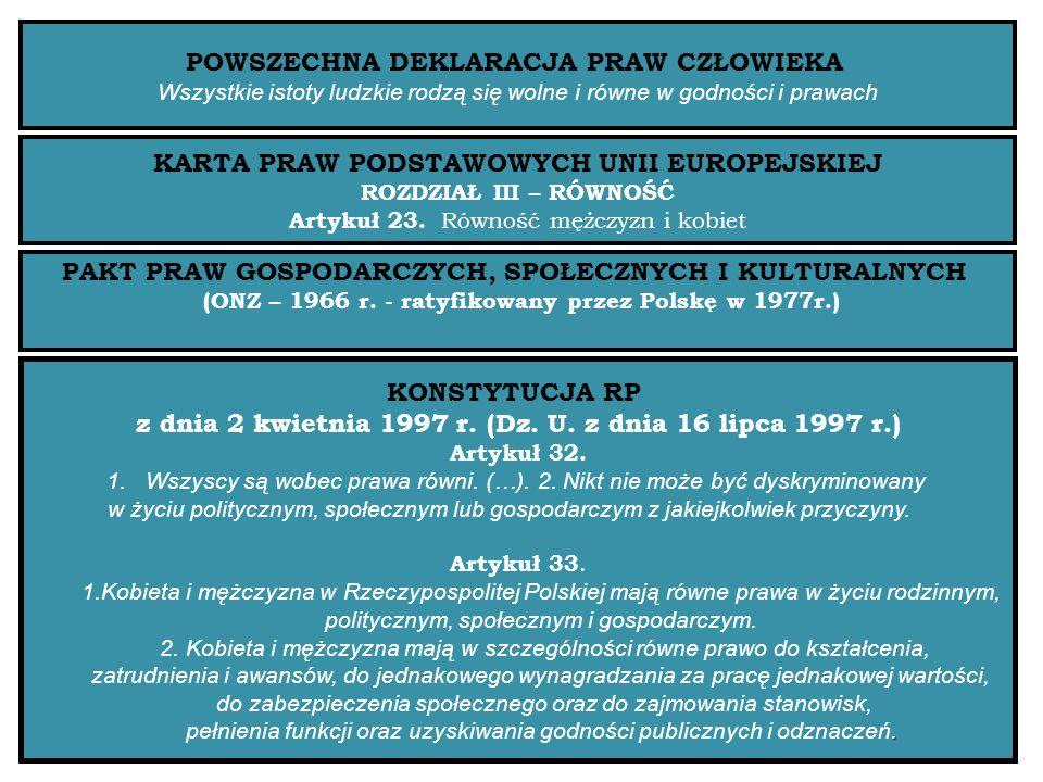 KARTA PRAW PODSTAWOWYCH UNII EUROPEJSKIEJ ROZDZIAŁ III – RÓWNOŚĆ Artykuł 23.