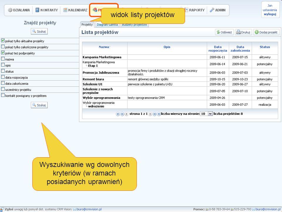 Wyszukiwanie wg dowolnych kryteriów (w ramach posiadanych uprawnień) widok listy projektów
