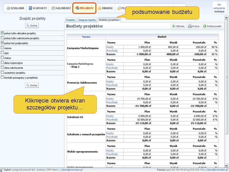 podsumowanie budżetu Kliknięcie otwiera ekran szczegółów projektu…