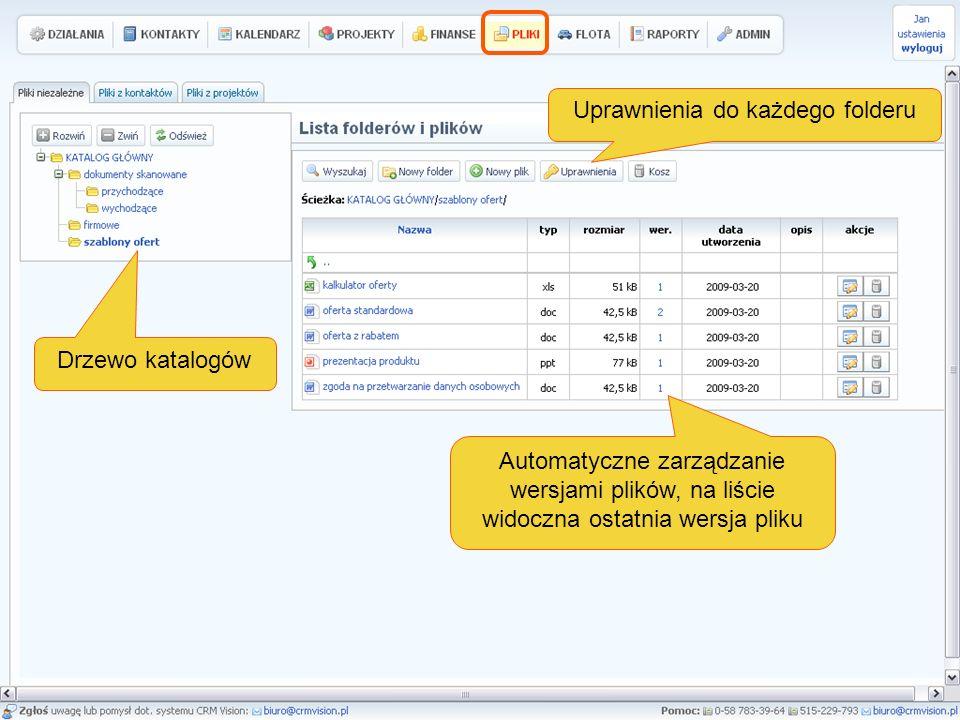 Drzewo katalogów Automatyczne zarządzanie wersjami plików, na liście widoczna ostatnia wersja pliku Uprawnienia do każdego folderu
