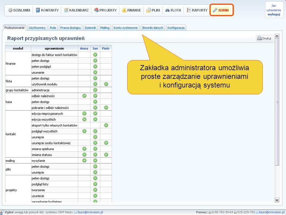 Zakładka administratora umożliwia proste zarządzanie uprawnieniami i konfiguracją systemu