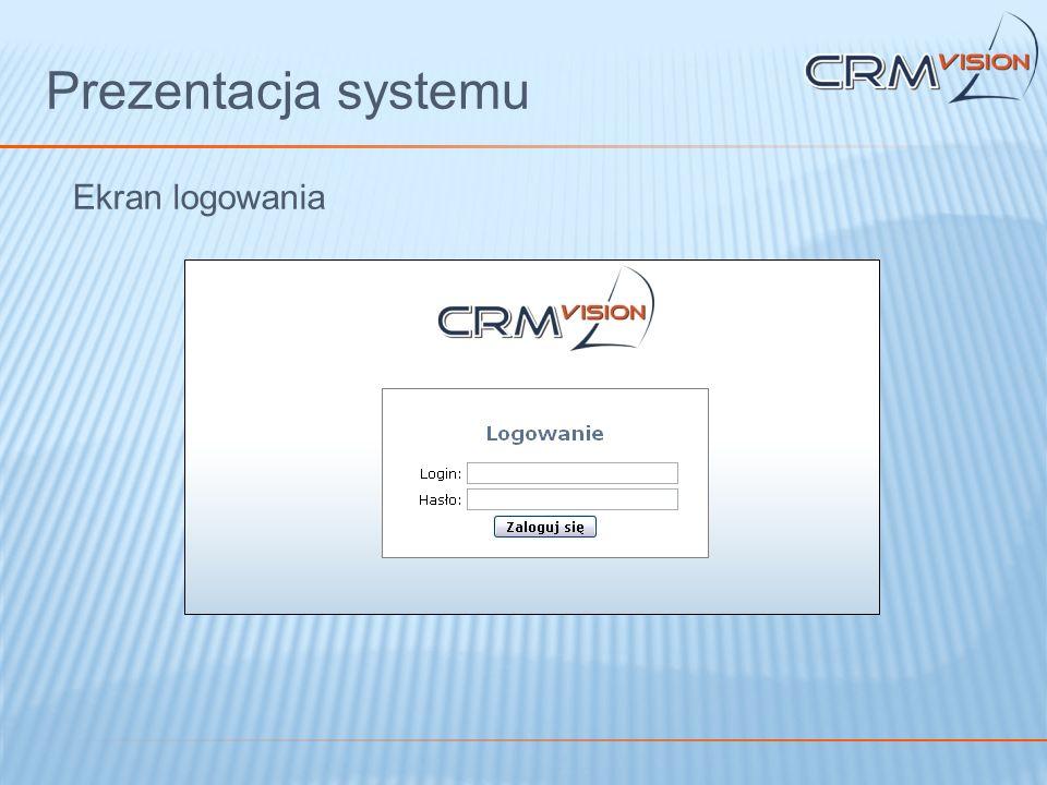 Prezentacja systemu Ekran logowania