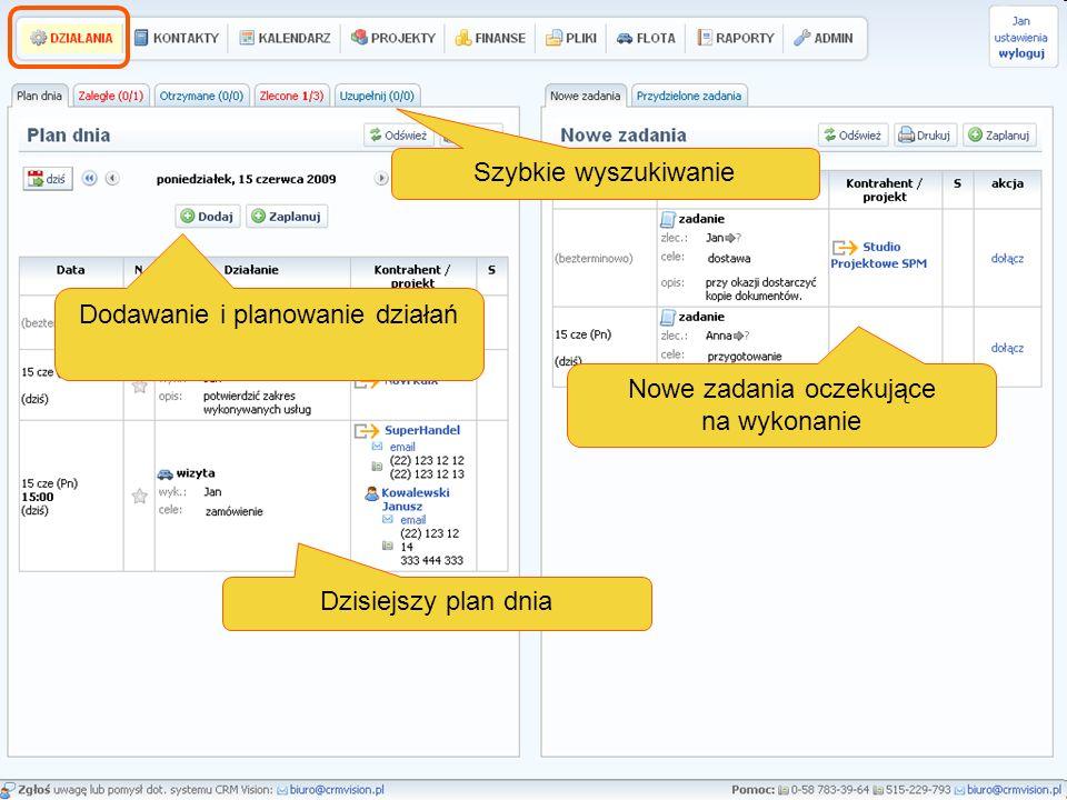 Dzisiejszy plan dnia Dodawanie i planowanie działań Nowe zadania oczekujące na wykonanie Szybkie wyszukiwanie
