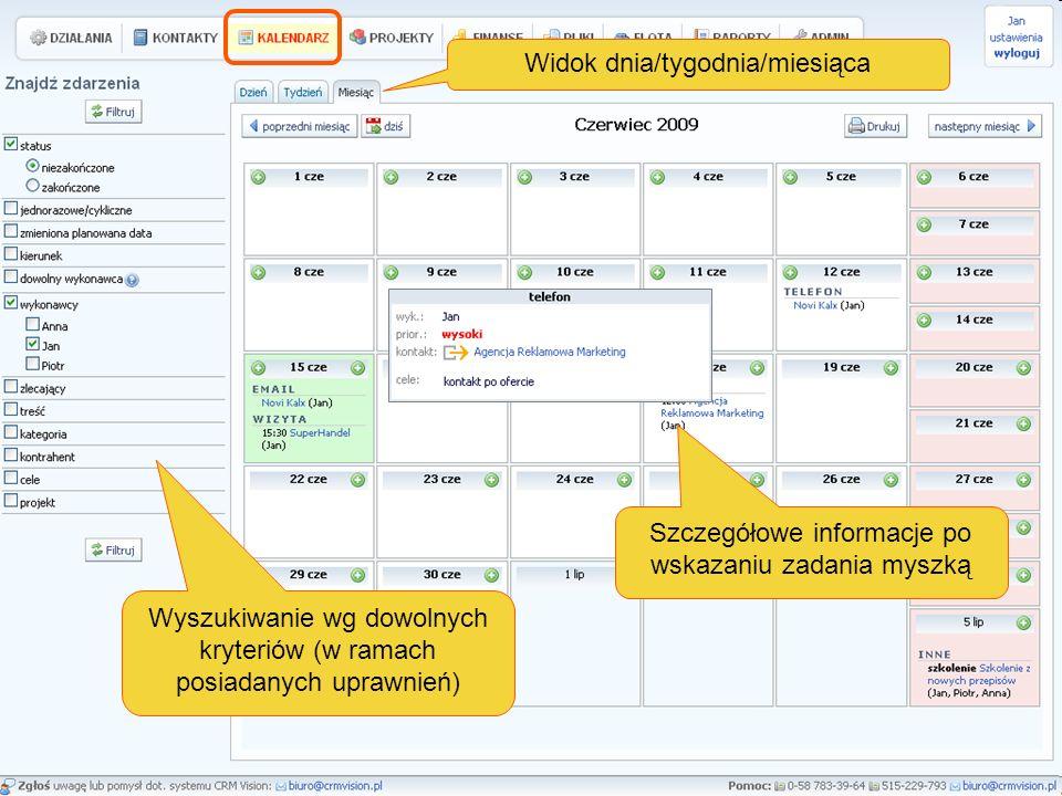 Widok dnia/tygodnia/miesiąca Wyszukiwanie wg dowolnych kryteriów (w ramach posiadanych uprawnień) Szczegółowe informacje po wskazaniu zadania myszką