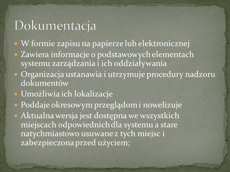 W formie zapisu na papierze lub elektronicznej Zawiera informacje o podstawowych elementach systemu zarządzania i ich oddziaływania Organizacja ustana