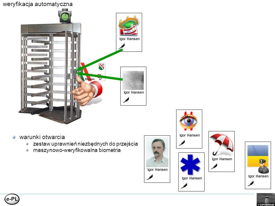 weryfikacja automatyczna warunki otwarcia zestaw uprawnień niezbędnych do przejścia maszynowo-weryfikowalna biometria Igor Hansen